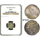 ZH56, Romania, Carol I, 50 Bani 1900, Hamburg, Silver, NGC MS62