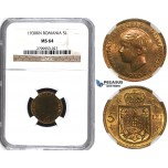 ZH61, Romania, Mihai I, 5 Lei 1930-KN, Kings Norton, NGC MS64
