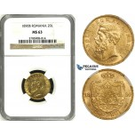 ZH63, Romania, Carol I, 20 Lei 1890-B, Bucharest, Gold, NGC MS63