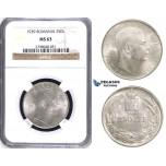 ZH70, Romania, Carol II, 250 Lei 1939, Silver, NGC MS63