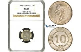 ZH79, Sarawak, C. Brooke Rajah, 10 Cents 1900-H, Heaton, Silver, NGC MS61