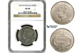 ZH80, Seychelles, George VI, Rupee 1939, Silver, NGC AU58