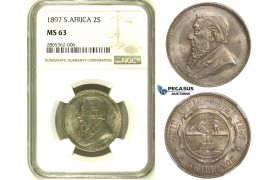 ZH82, South Africa (ZAR) 2 Shillings 1897, Silver, NGC MS63