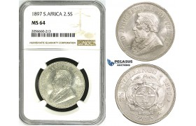 ZH83, South Africa (ZAR) 2 1/2 Shillings 1897, Silver, NGC MS64