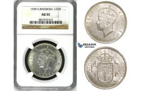 ZH84, Southern Rhodesia, George VI, 1/2 Crown 1939, Silver, NGC AU55