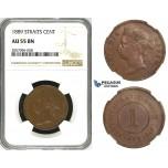 ZH85, Straits Settlements, Victoria, 1 Cent 1889, NGC AU55BN