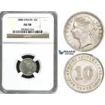 ZH87, Straits Settlements, Victoria, 10 Cents 1888, Silver, NGC AU58