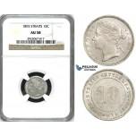 ZH88, Straits Settlements, Victoria, 10 Cents 1893, Silver, NGC AU58