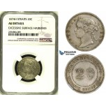 ZH89, Straits Settlements, Victoria, 20 Cents 1874-H, Silver, NGC AU Det.