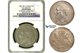 "ZI03, Belgian Congo, Leopold II, 5 Francs 1887, Silver ""R.D. Belges"" NGC AU (Looks UNC)"
