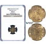 ZI08, Romania, Carol I, 1 Ban 1888-B, Bucharest, Gilt Bronze, NGC MS64, Rare!