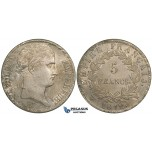 ZI17 France, Napoleon I, 5 Francs 1812-W, Lille, Silver, Cleaned aXF