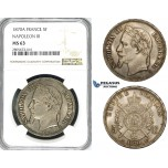 ZI19, France, Napoleon III, 5 Francs 1870-A, Paris, Silver, NGC MS63