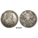 ZI25, Russia, Peter I, Rouble AѰКA (1721) K, Kadashevsky mint, Moscow, Silver (28.19g) Cleaned F-VF, Rare!