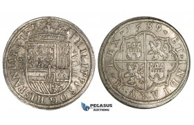 ZI27, Spain, Felipe II, 8 Reales 1589, Segovia, Silver (27.42g) Cal. 203, Lustrous aEF, Rare!