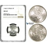 ZI36, Cyprus, George VI, 9 Piastres 1940, London, Silver, NGC MS62