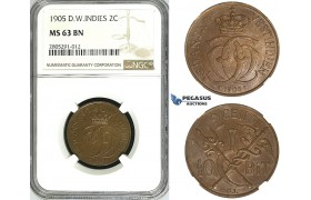 ZI37, Danish West Indies, Christian IX, 2 Cents (10 Bit) 1905, Copenhagen, NGC MS63BN