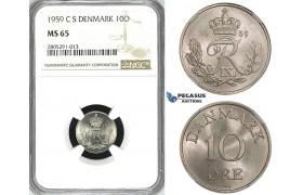 ZI38, Denmark, Frederik IX, 10 Øre 1959, Copenhagen, NGC MS65, Pop 1/0, Finest!