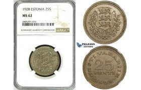 ZI40, Estonia, 25 Senti 1928, NGC MS62