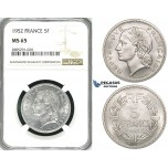 ZI42, France, Fourth Republic, 5 Francs 1952, Paris, NGC MS65, Pop 1/0, Finest! Rare!