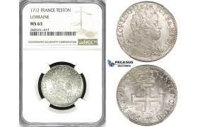 ZI43, France, Lorraine, Leopold I, Teston 1712, Silver, NGC MS63