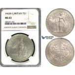 ZI51, Great Britain, Trade Dollar 1902-B, Bombay, Silver, NGC MS63