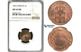 ZI53, Greece, Othon, 2 Lepta 1832, Munich, NGC MS64RB