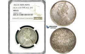 ZI55, India (British) Victoria, Rupee 1862(B), Bombay, Silver, S&W 4.59, Type H/2, 0/0, NGC MS63