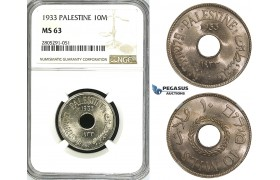 ZI60, Palestine, 10 Mils 1933, London, NGC MS63