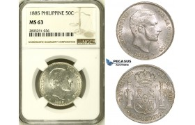 ZI62, Philippines (Spanish) Alfonso XII, 50 C. de Peso 1885, Silver, NGC MS63