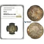 ZI66, Romania, Carol I, 1 Leu 1870-C, Bucharest, Silver, NGC MS62, Rainbow toned, Rare!