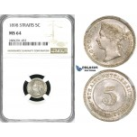 ZI78, Straits Settlements, Victoria, 5 Cents 1898, Silver, NGC MS64