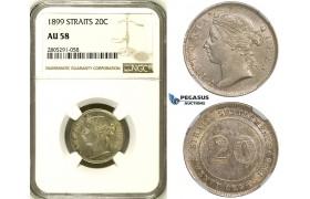 ZI79, Straits Settlements, Victoria, 20 Cents 1899, Silver, NGC AU58
