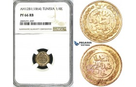 ZI80, Tunisia, 1/4 Kharub AH1281 / 1864, NGC PF66RB, Pop 1/0, Finest!