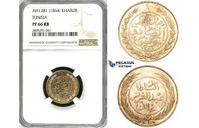 ZI82, Tunisia, 1 Kharub AH1281 / 1864, NGC PF66RB, Pop 1/0, Finest!