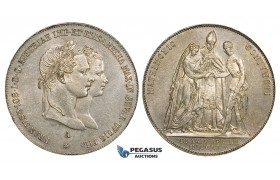 "ZI86, Austria, Franz Joseph, Gulden 1854-A, Vienna, Silver, on the Marriage to Elizabeth ""Sissi"" of Bavaria, light cleaning, aUNC"
