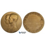 ZI87, Belgium, Bronze Medal 1926 (Ø69mm, 120.5g) by Devreese, Leopold & Astrid of Sweden Wedding