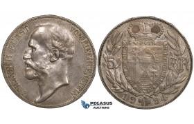 ZI95, Liechtenstein, Johann II, 5 Francs 1924, Bern, Silver, Toned XF-AU