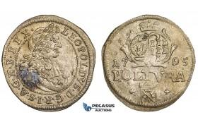 ZJ06, Transylvania, Leopold I, Poltura 1705, Hermannstadt, Silver (0.98g) VF-EF