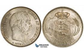 ZJ10, Denmark, Christian IX, 2 Kroner 1876, Copenhagen, Silver, Lustrous & Toned UNC