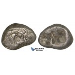 ZJ16. Kings of Lydia, Kroisos, Ca. 560-546 BC., AR Siglos (7x15mm, 5.26g), Sardes, 550-546 BC. Lion / Bull