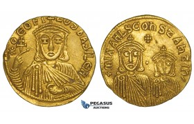 ZJ20, Byzantine Empire, Theophilus, with Constantine and Michael II (829–842) AV Solidus (4.32g) Constantinople, 831-842
