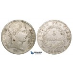 ZJ21, France, Napoleon I, 5 Francs 1810-A, Paris, Silver, Cleaned VF, some spots