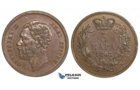 ZJ30, Serbia, M. Obrenovic III, 5 Para 1868 (Medal Rotation) Brown EF