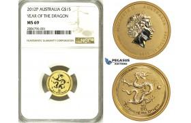 ZJ33, Australia, Lunar Dragon 15 Dollar 2012-P, Perh, 1/10 Oz.999, Gold, NGC MS69