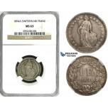 ZJ40, Switzerland, 1 Franc 1894-A, Paris, Silver, NGC MS63
