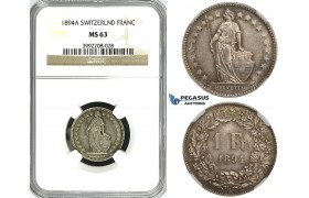 ZJ40, Switzerland, 1 Franc 1894-A, Paris, Silver, NGC MS63