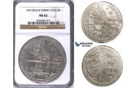ZJ41, Ottoman Empire, Turkey, Selim III, Yuzluk AH1203/4, Islambul (Istanbul) NGC MS62