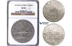 ZJ42, Ottoman Empire, Turkey, Selim III, Yuzluk AH1203/4, Islambul (Istanbul) NGC AU58