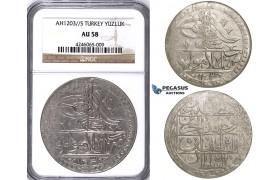 ZJ44, Ottoman Empire, Turkey, Selim III, Yuzluk AH1203/5, Islambul (Istanbul) NGC AU58